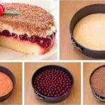 Бисквит с вишнями и кофейным ароматом